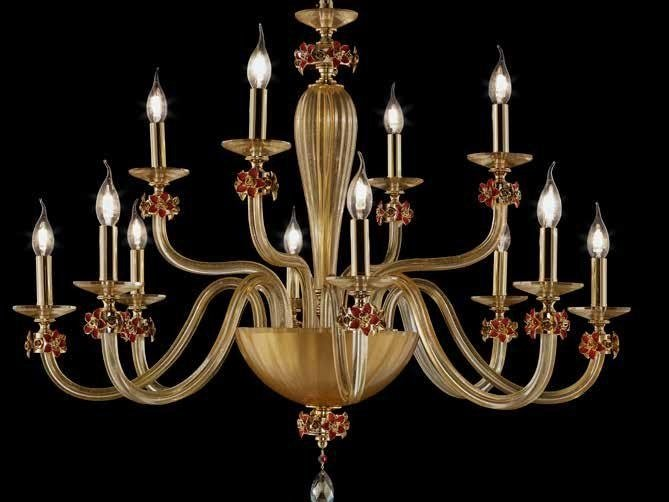Crystal chandelier with Swarovski® Crystals SHEEN L8+4 by Euroluce Lampadari