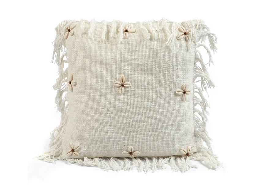 Square cotton cushion SHELL FLOWER by Bazar Bizar