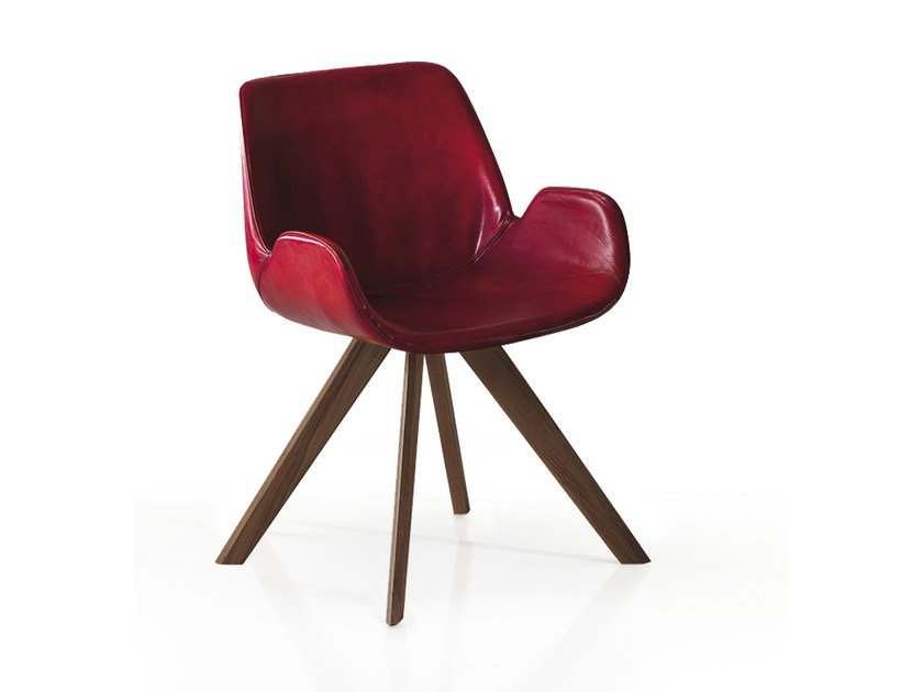 Trestle-based leather chair with armrests SHELL by Oliver B.