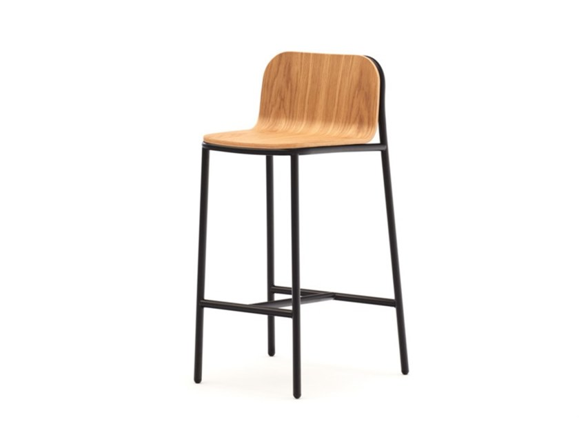 High stool with back and footrest SHELL | Stool by annud