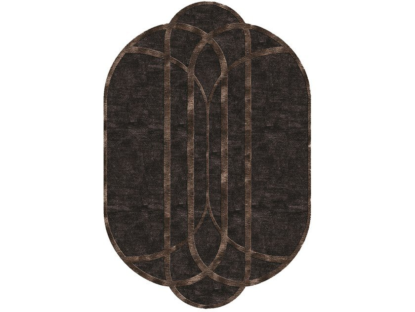 Oval fabric rug with geometric shapes SHELLEY by Longhi