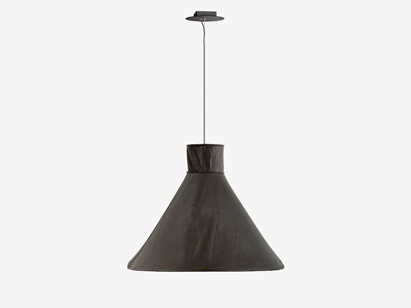 Handmade tanned leather pendant lamp SHELTER by RADAR INTERIOR