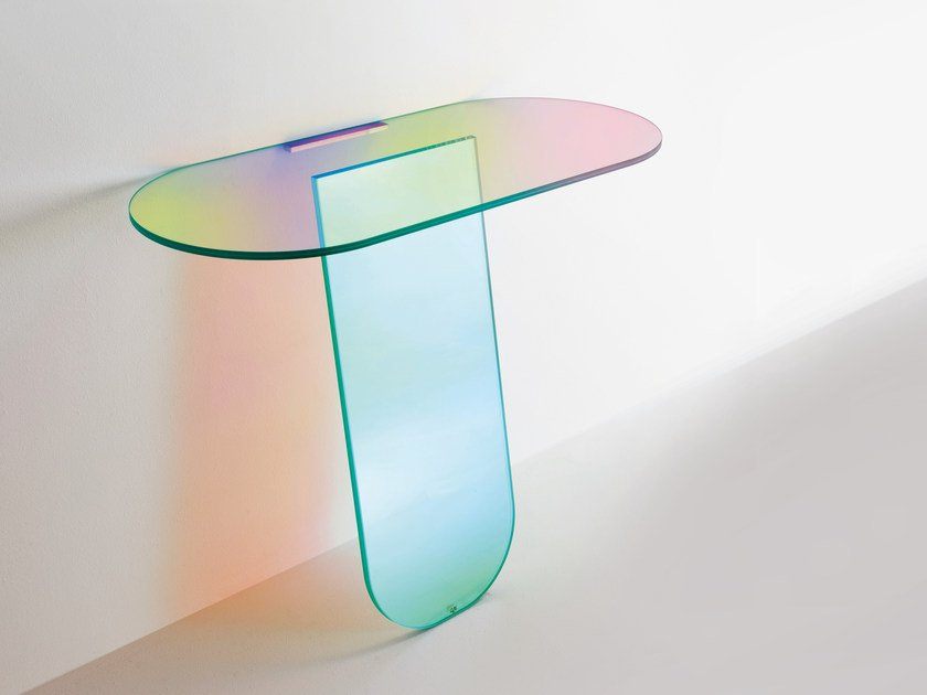 Oval crystal console table SHIMMER | Console table by Glas Italia