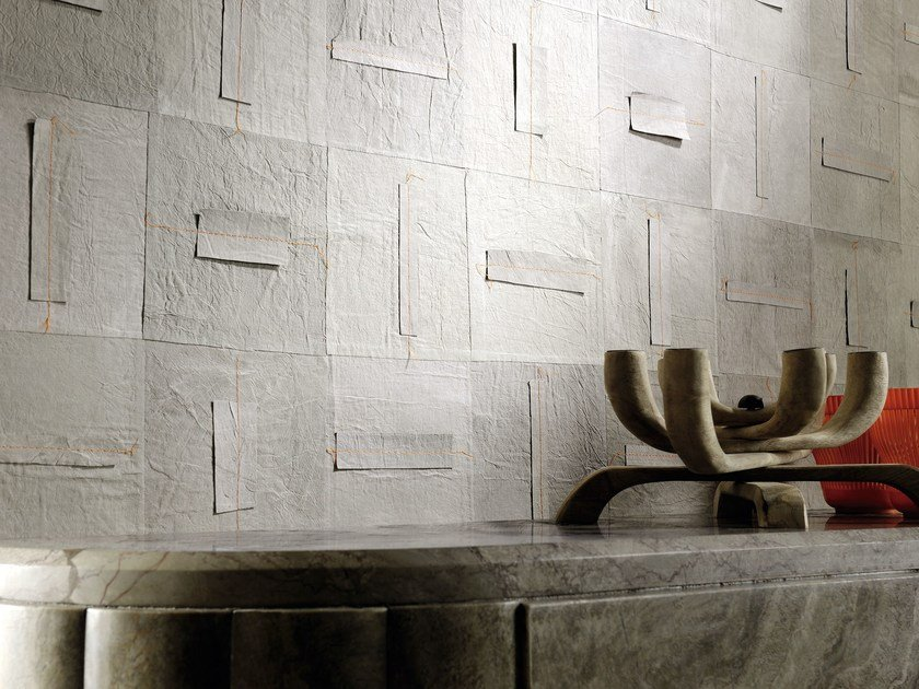 Fireproof nonwoven wall tiles SHIRAKAWA by Élitis