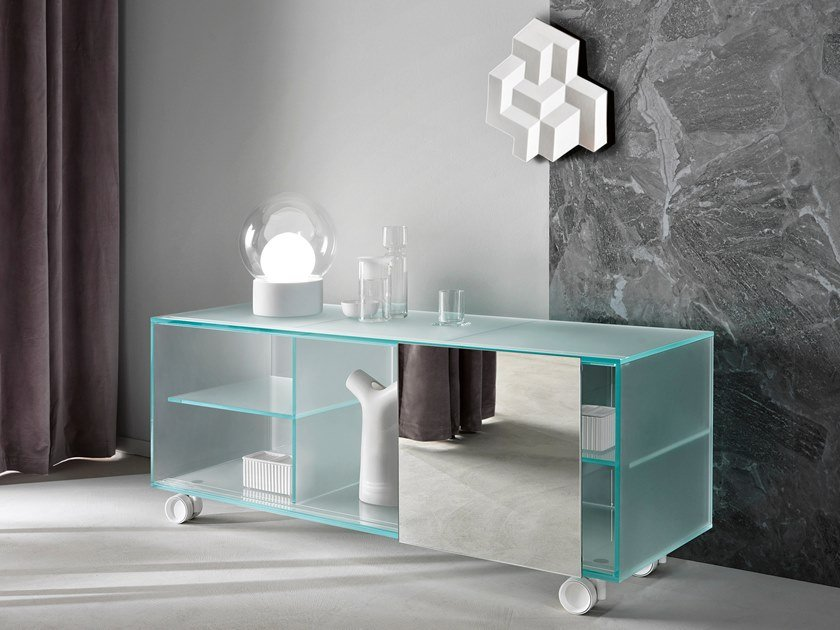 Satin glass sideboard with sliding doors SHOJI | Satin glass sideboard by Tonelli Design