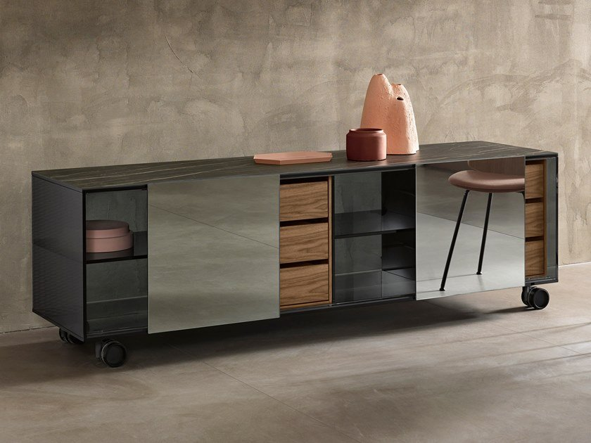 Wood and glass sideboard with drawers SHOJI | Sideboard with drawers by Tonelli Design
