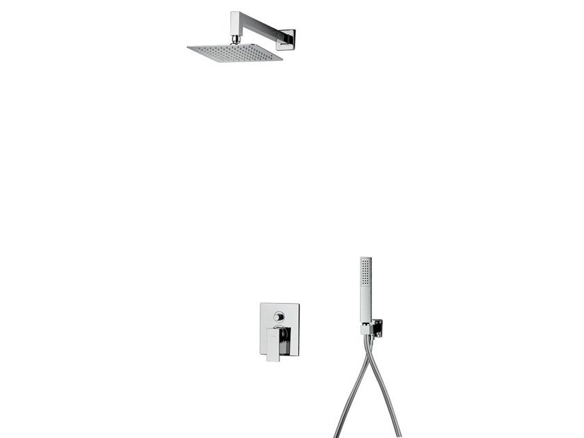Recessed brass shower mixer with overhead shower SHOWER 10256 by I Crolla Rubinetterie