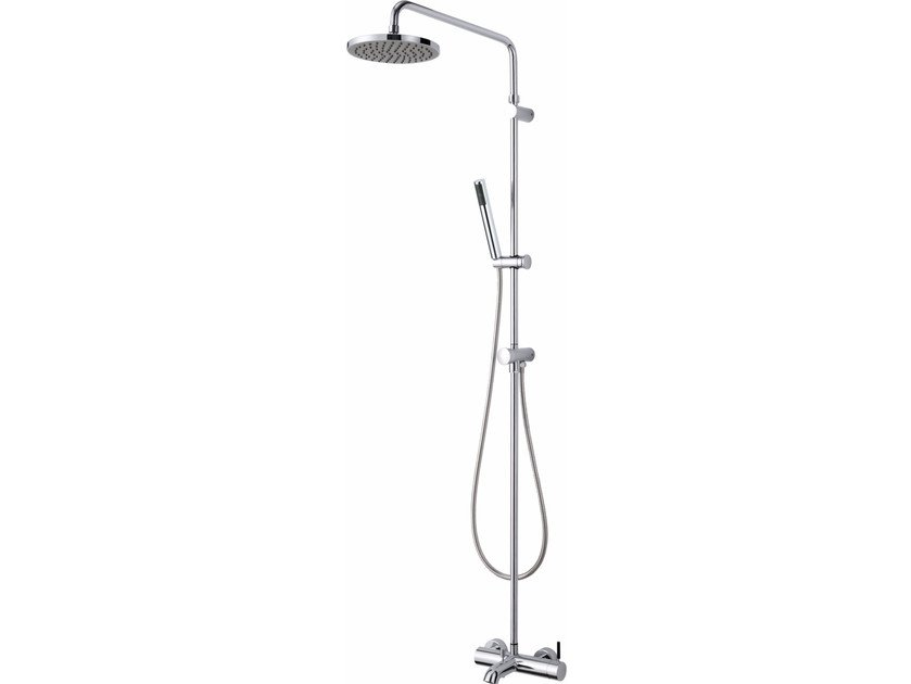 Wall-mounted chromed brass shower system with hand shower PAN I | Shower panel by JUSTIME