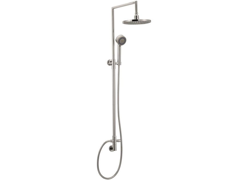 Wall-mounted brass shower panel with overhead shower SHOWER 10901 by I Crolla Rubinetterie