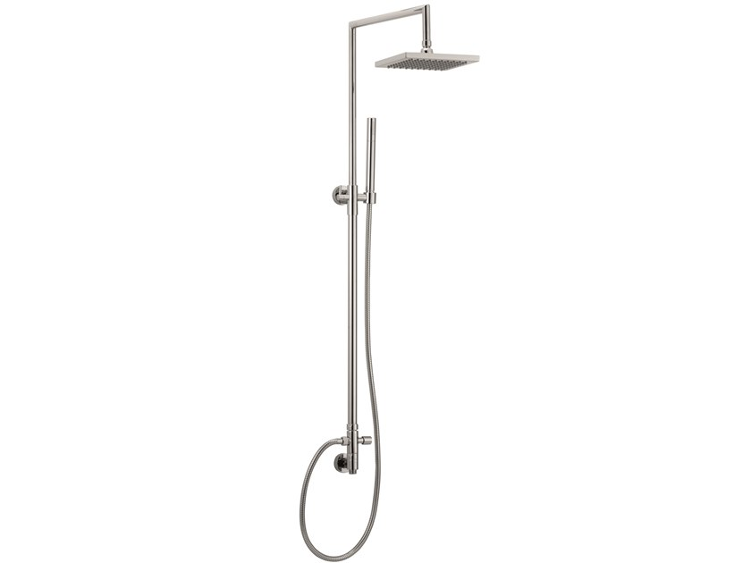 Wall-mounted brass shower panel with overhead shower SHOWER 10904 by I Crolla Rubinetterie