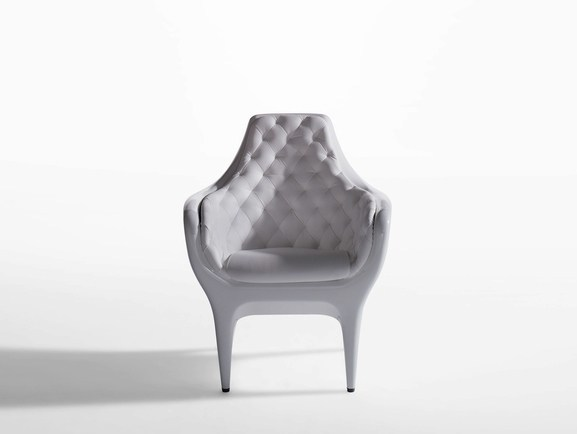 Tufted upholstered leather armchair SHOWTIME | Tufted armchair by BD Barcelona Design