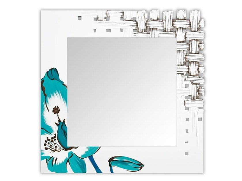 Square wall-mounted framed mirror SI-075Q-SP | Mirror by LAS