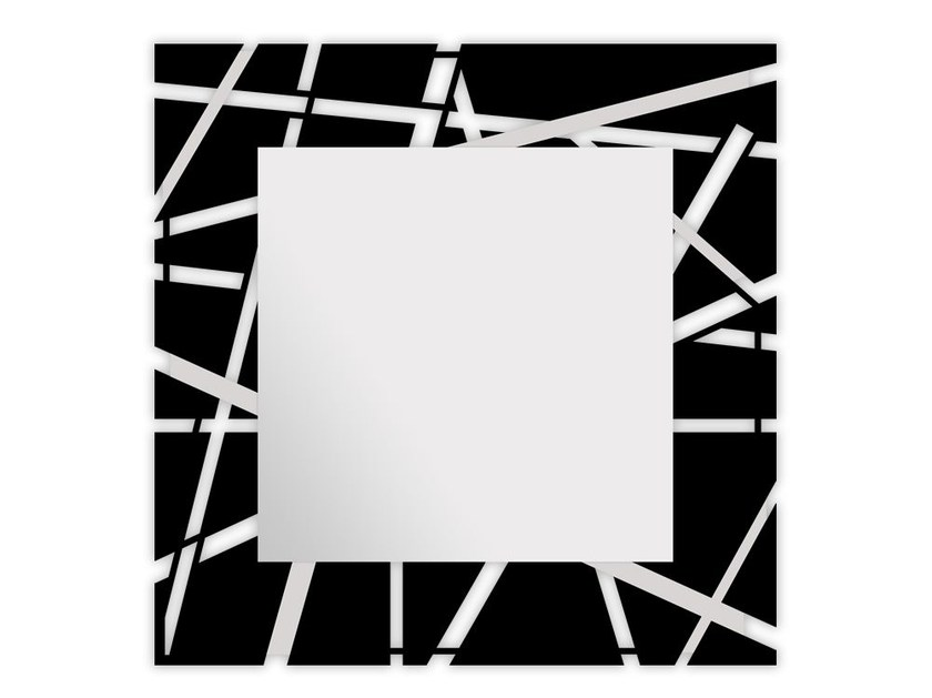 Square wall-mounted framed mirror SI-095Q-SP | Mirror by LAS