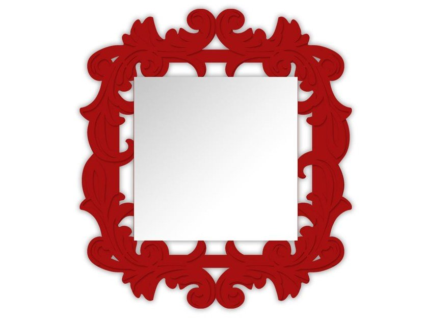 Square wall-mounted framed mirror SI-247-SP | Mirror by LAS