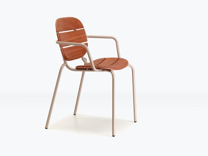 Steel and wood garden chair with armrests SI-SI WOOD by SCAB DESIGN