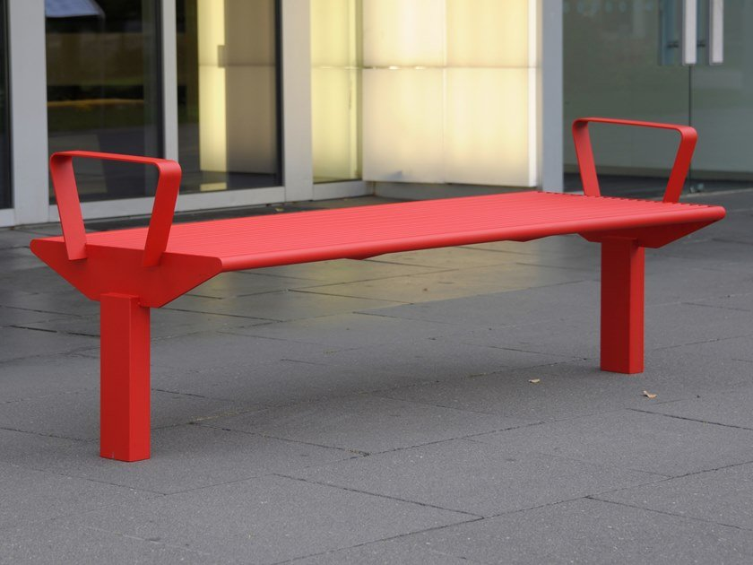 Panchina in acciaio inox con braccioli senza schienale SIARDO 50 R | Panchina con braccioli by BENKERT BANKE