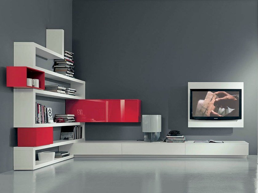 Lacquered TV wall system SIDE 10 by Fimar