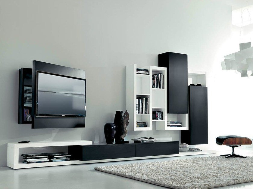 Lacquered TV wall system SIDE 11 by Fimar