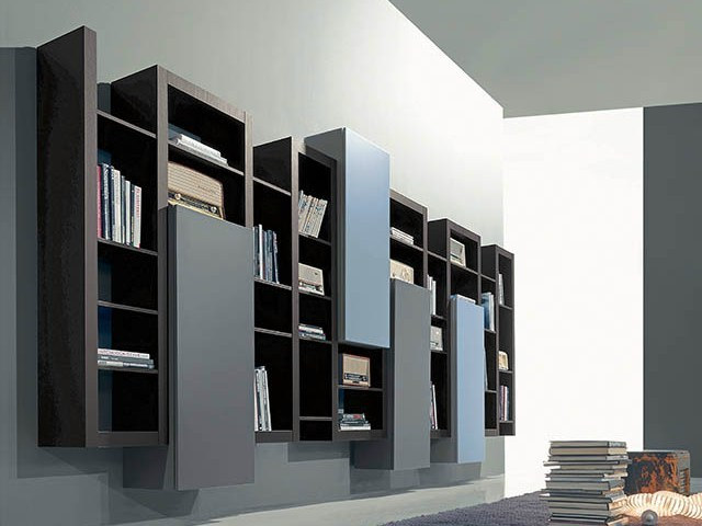 Wall-mounted lacquered floating bookcase SIDE 16 by Fimar