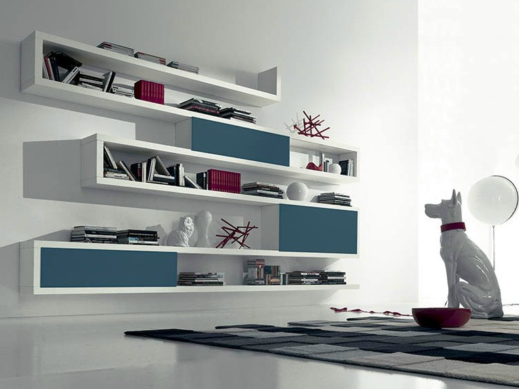 Contemporary style open wall-mounted lacquered wooden bookcase SIDE 18 by Fimar