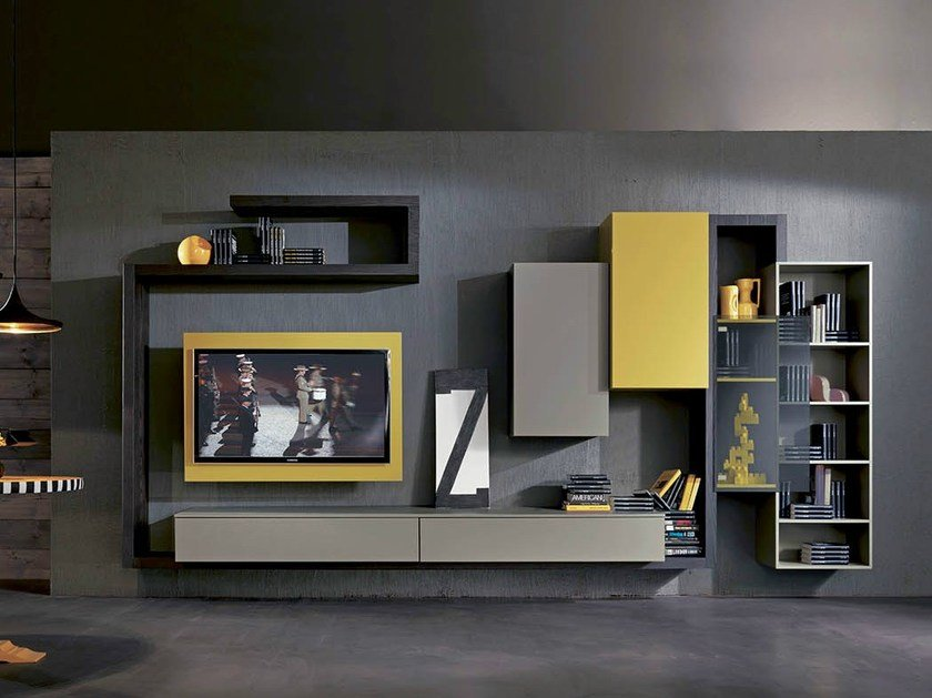 Lacquered TV wall system SIDE 5 by Fimar