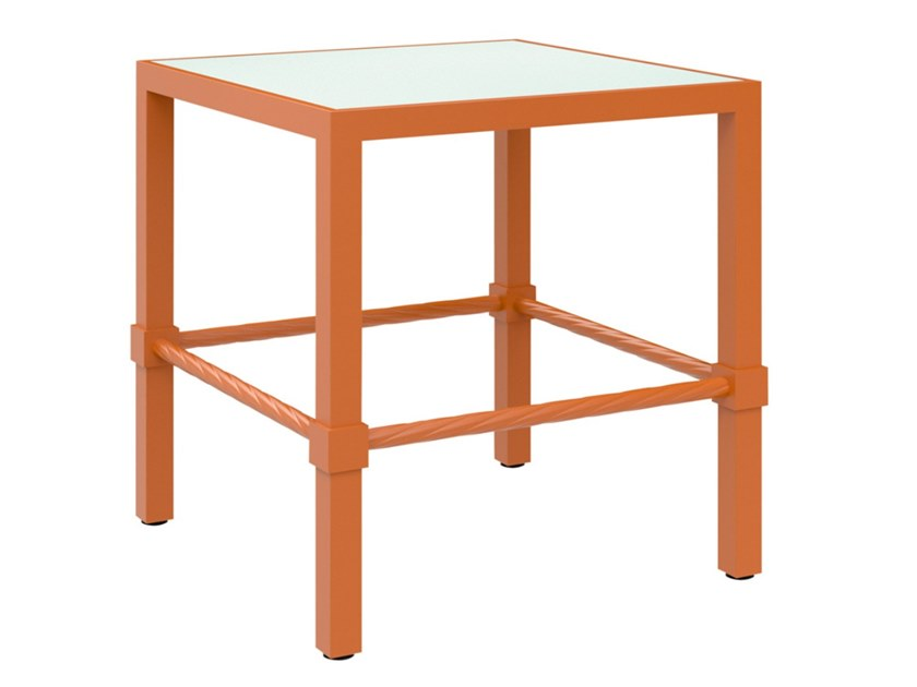 Square glass and aluminium garden side table PALMIA   Side table by JANUS et Cie