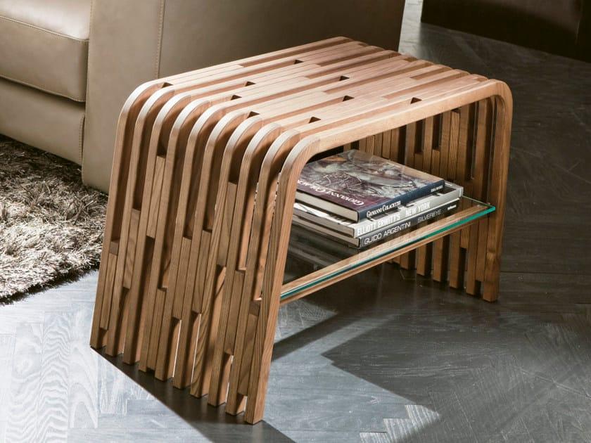 Tavolino basso in legno massello con vano contenitore MILLERIGHE | Tavolino di servizio by Pacini & Cappellini