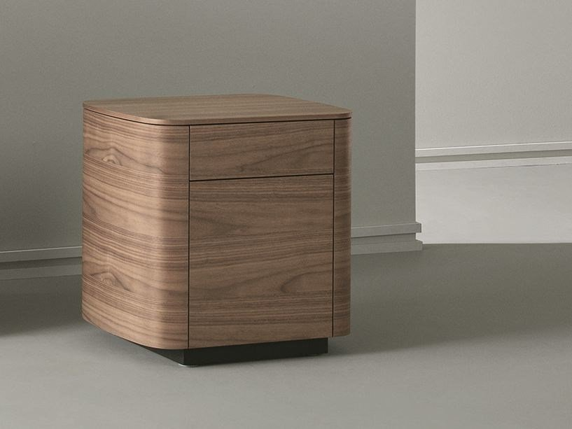 Rectangular wooden bedside table with drawers SIDE | Wooden bedside table by Caccaro