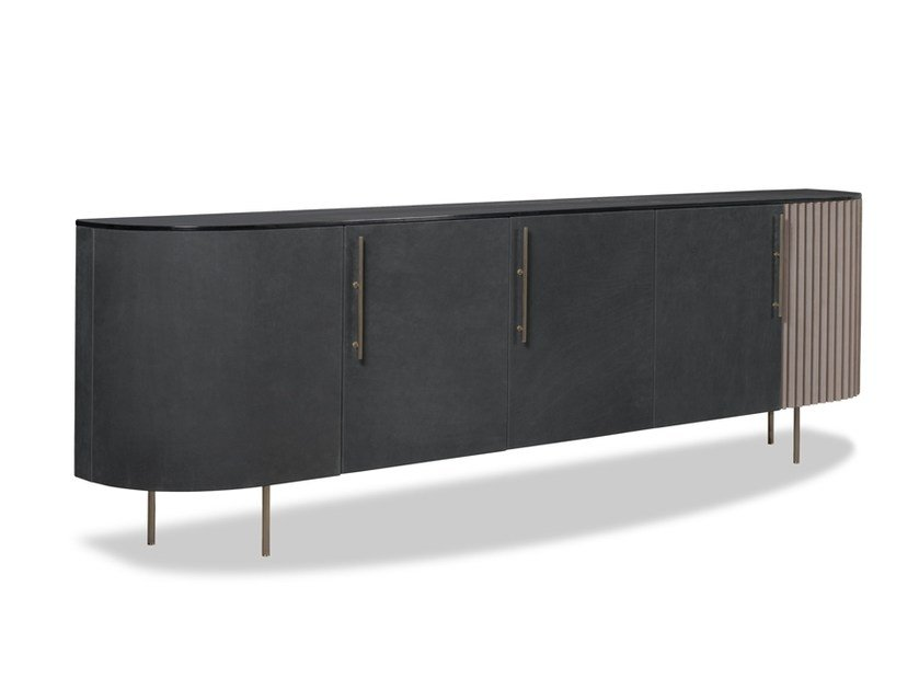 Lacquered sideboard with doors PLISSÉ | Sideboard by BAXTER