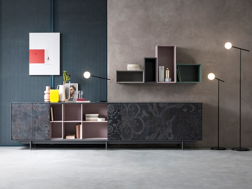 Lacquered sideboard with sliding doors ATENEO | Sideboard by Capo d'Opera