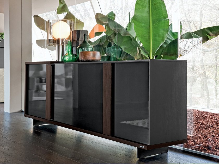Wood and glass sideboard with drawers LIVE CONTEMPORARY | Sideboard by Febal Casa