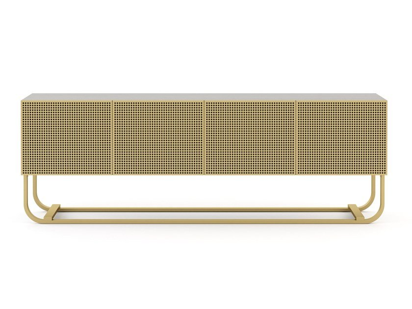Brass and wooden sideboard with doors HIS   Sideboard by Stylish Club