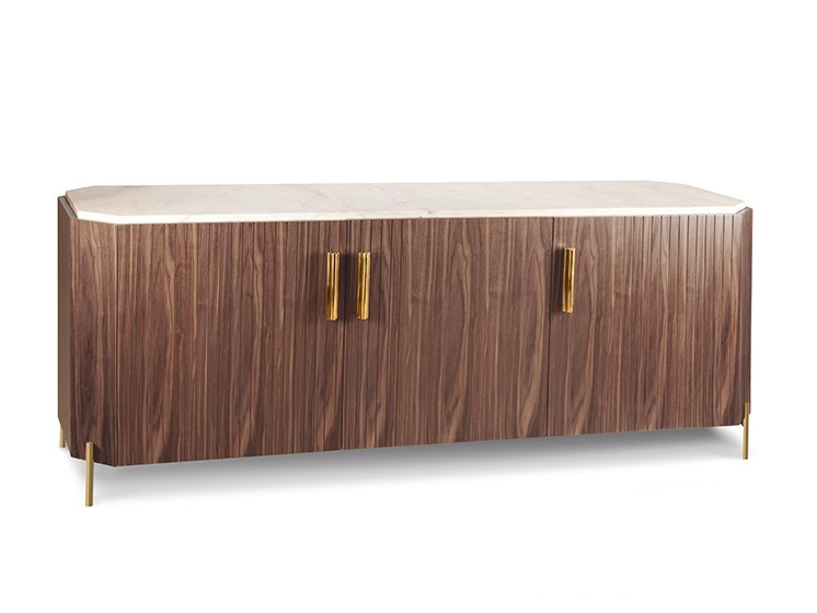 Wood veneer and marble sideboard with doors MALCOLM | Sideboard by Mambo Unlimited Ideas