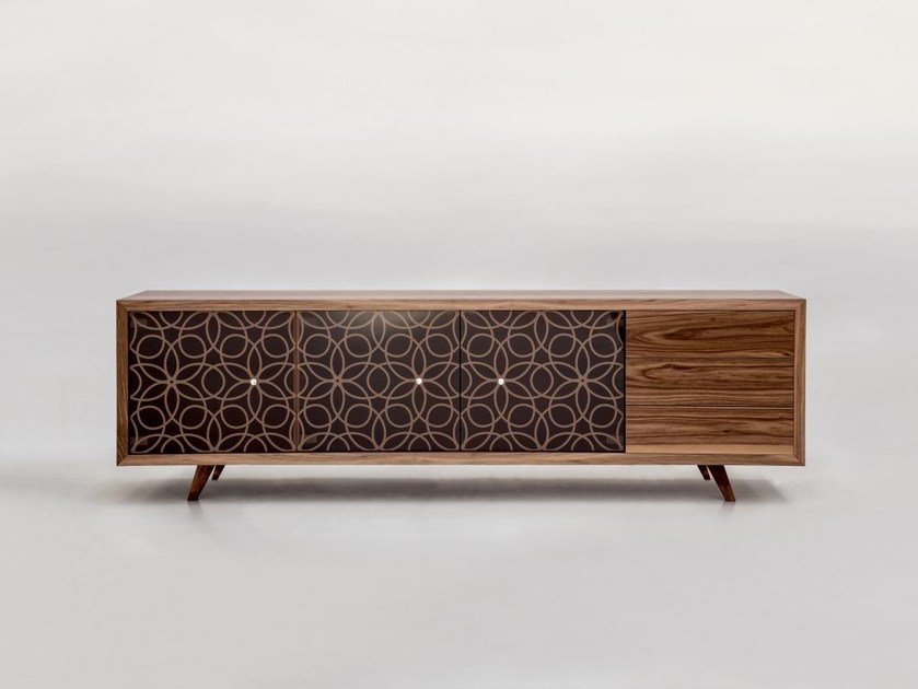 Wood and glass sideboard with doors GRANADA | Sideboard by Tonin Casa