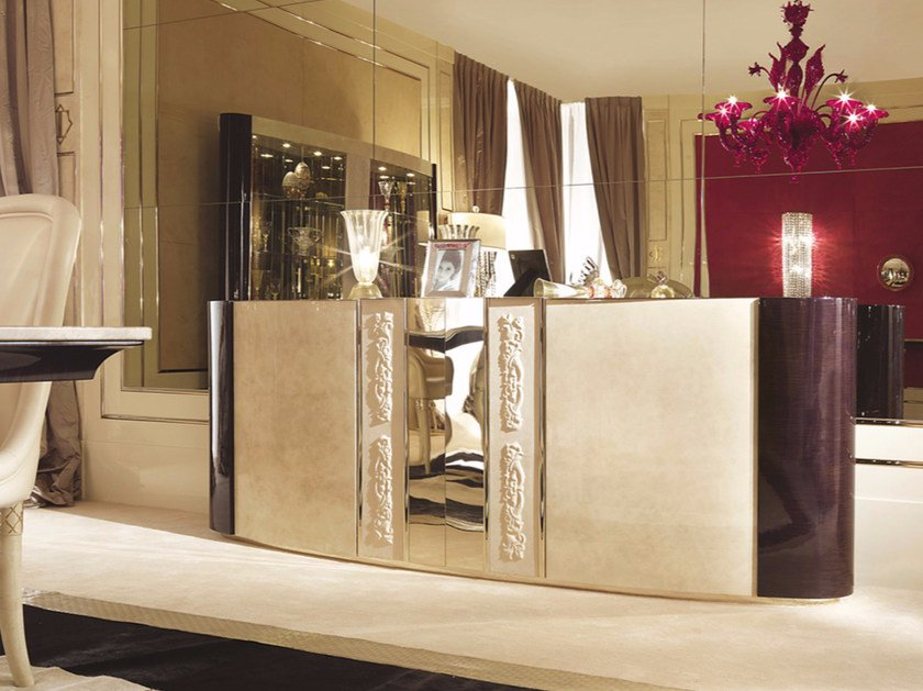 Lacquered wooden sideboard with doors COUTURE | Sideboard by Turri