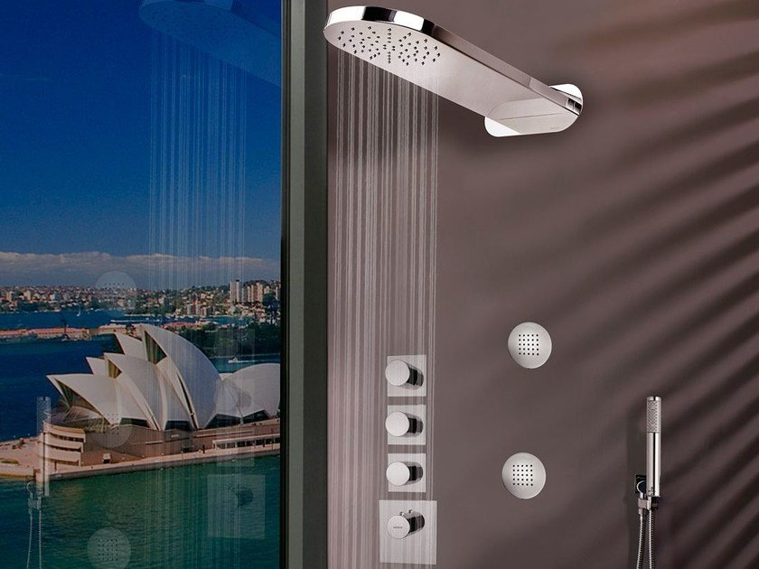 Wall-mounted stainless steel overhead shower Sidney 1 spray by Bossini