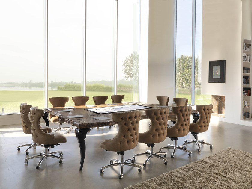 Multimedia rectangular wooden meeting table SIDNEY | Meeting table by Bizzotto