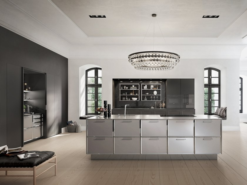 Lacquered steel and wood kitchen with island SieMatic CLASSIC - SE 2002 BA by SieMatic