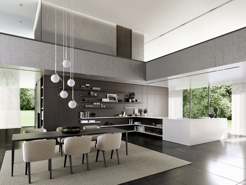 Kitchen with peninsula SieMatic PURE - SE 4004 / 5005 by SieMatic