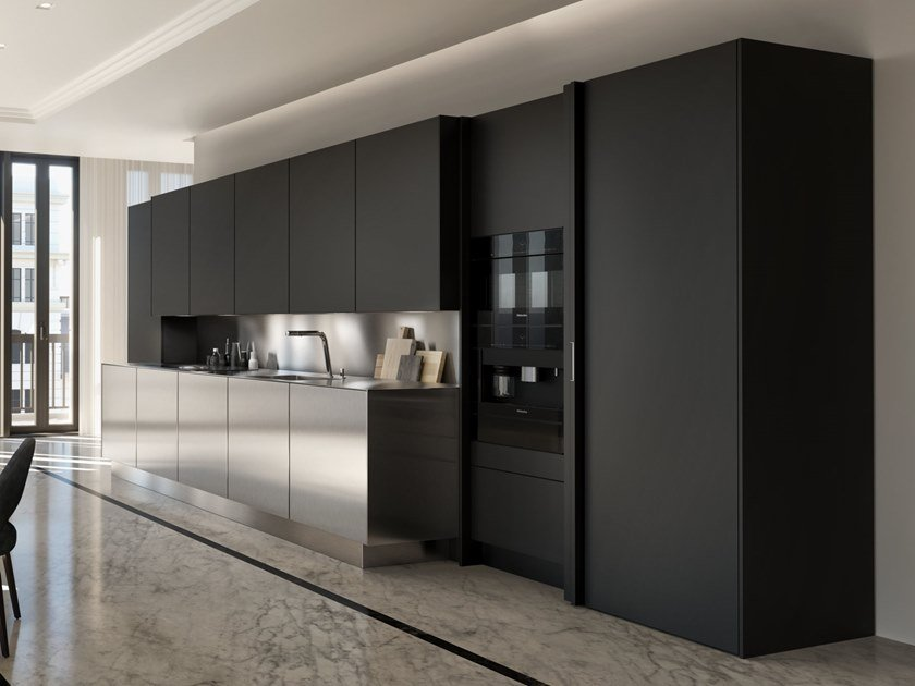 Linear steel and wood kitchen SieMatic PURE - SE by SieMatic