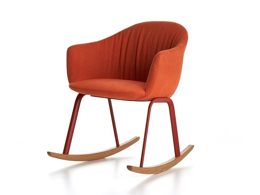 Rocking fabric easy chair with removable cover SIENA | Rocking easy chair by MDF Italia