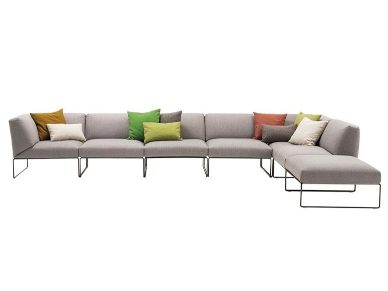 Sled base modular fabric sofa SIESTA OUTDOOR SF4750/ 51 / 55 / 54 by Andreu World