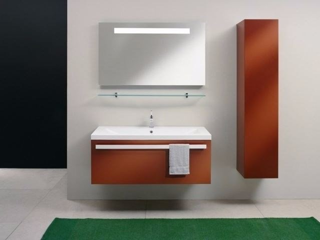 Wooden vanity unit with mirror SIGN   Single vanity unit by CARMENTA