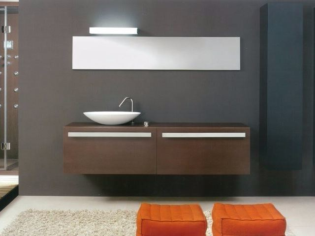 Double vanity unit with mirror SIGN | Wall-mounted vanity unit by CARMENTA