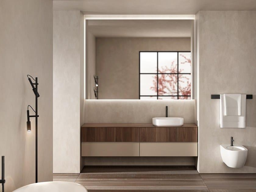 Mobile lavabo singolo sospeso in noce con lavabo integrato SIGNATURE 01 by Karol