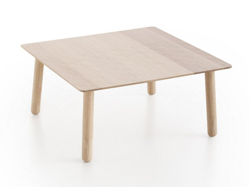 Low square oak coffee table SILAÏ | Low coffee table by GAN