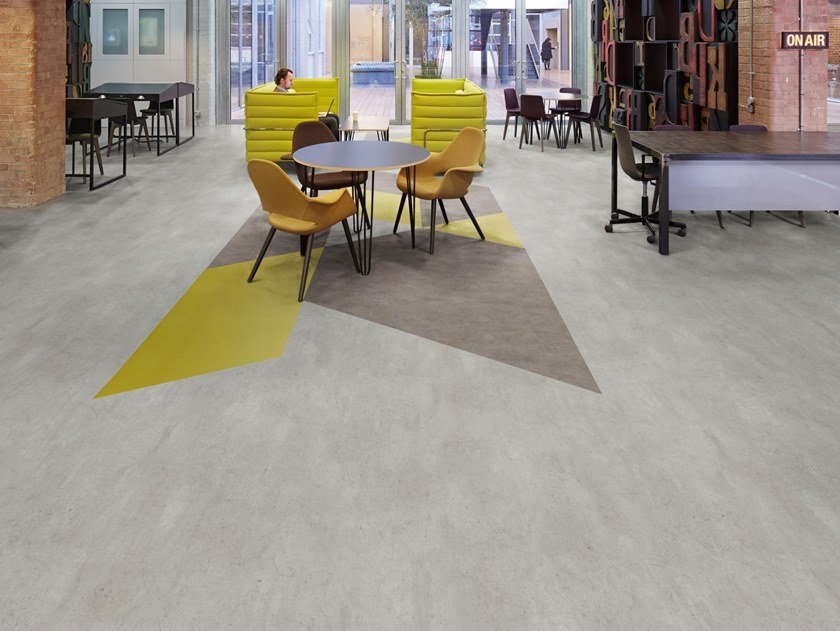 Anti-static synthetic material flooring with concrete effect SILENTFLOR