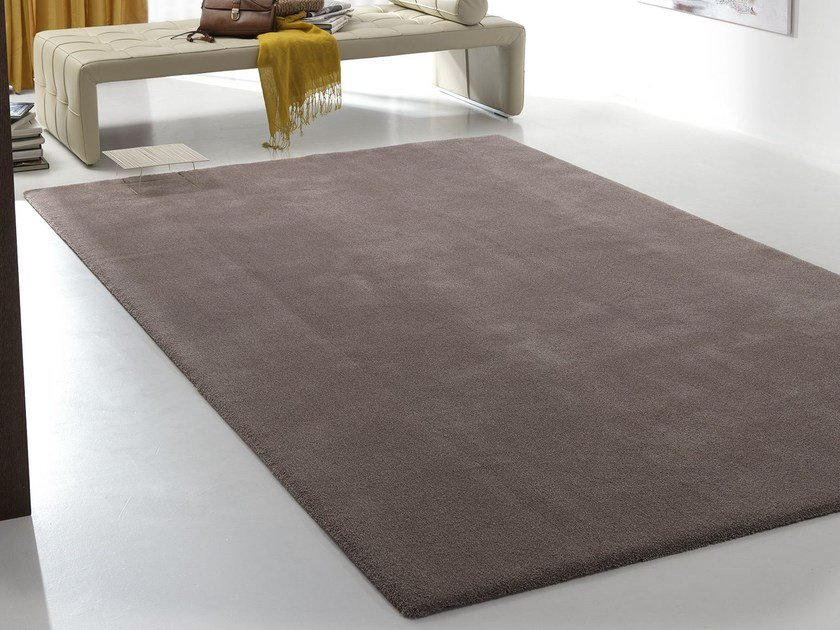 Solid-color rectangular fabric rug SILK COUTURE by Besana Moquette