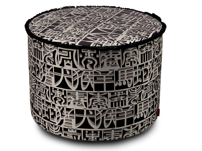 Cylindrical pouf in jacquard fabric with silk IDEOGRAMMA   Silk pouf by MissoniHome