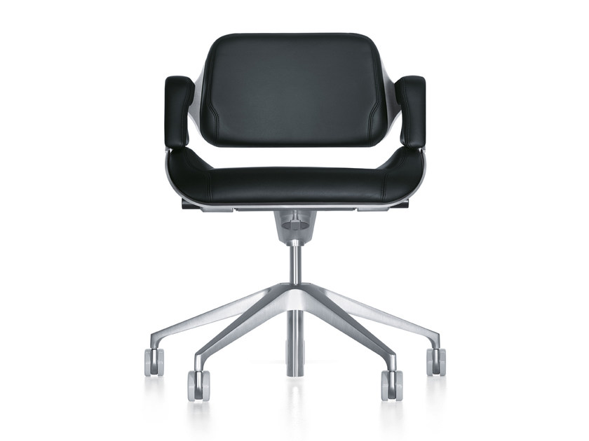 Ergonomic leather task chair with casters SILVER 162S by Interstuhl